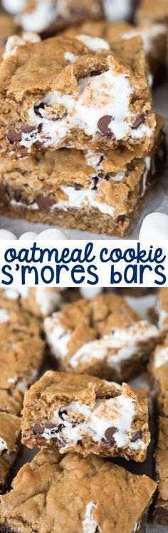 Easy Oatmeal Cookie S'more Bars - a gooey indoor s'more recipe! These gooey bars are the perfect way to eat your s'mores!