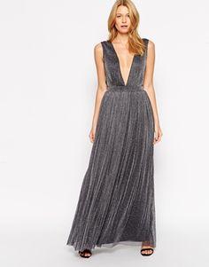 Rare Plunge Neck Maxi Dress in Glitter Fabric