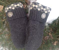 Women's Small Dark Grey Felted Shetland Wool Mittens by SewforYou, $26.00
