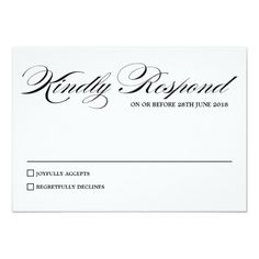 Elegant Calligraphy Script Wedding RSVP Card