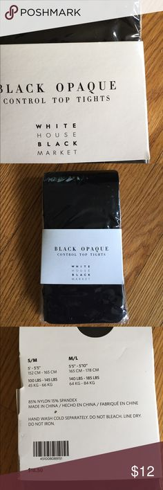 WHBM black tights. ♠️ New, black opaque control top tights.  Price firm. White House Black Market Accessories Hosiery & Socks