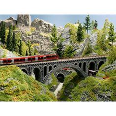 Rhône-Viadukt aus Struktur-Hartschaum, für die Modelleisenbahn, Spur H0
