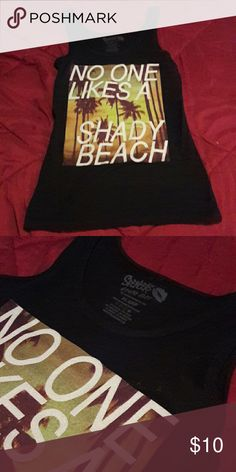 No One Likes a Shady Beach Tank - Navy Blue with quote - Thin material - Never worn, Amazing condition  - Says XL but is definately a small Tops Tank Tops