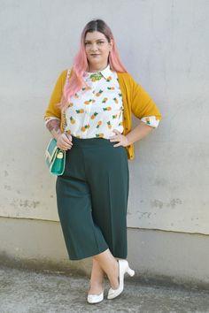 #Outfit: camicia con gli ananas, verde e giallo | Plus... Kawaii! - A plus size fashion blog #plussize