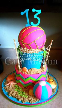 Volleyball Cake on Cake Central Volleyball Cake on Cake Central Volleyball Birthday Cakes, Volleyball Party, 13 Birthday Cake, Volleyball Gifts, Beach Volleyball, 12th Birthday, Birthday Stuff, Softball, Girl Birthday