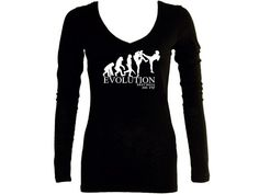 Krav Maga evolution black v neck women sleeved t shirt