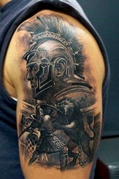 Accurate painted colored shoulder tattoo of gladiator fight with lion