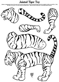 1920 February The Tiger Zoo Drawing, Line Drawing, Paper Puppets, Paper Toys, Paper Art, Paper Crafts, Animal Cutouts, Paper Animals, How To Attract Birds