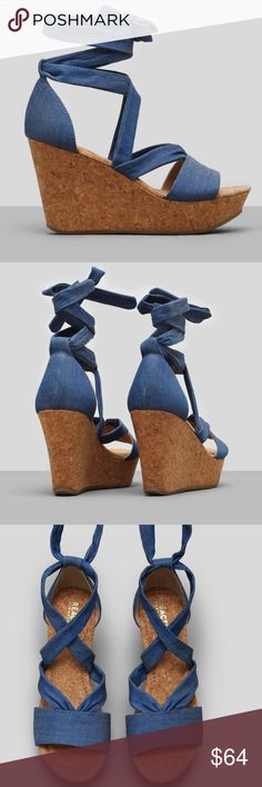 """NIB Kenneth Cole SOLE RISE BLUE CORK WEDGE NEW IN BOX!  DETAILS: Ankle-wrap wedge Open-toe Textile upper Cork lining Textile and rubber sole 3.5"""" wedge 1"""" platform Imported Kenneth Cole Shoes Wedges"""