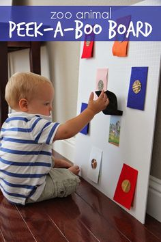 Fun toddler activity. Make a DIY peek-a-boo animal board.