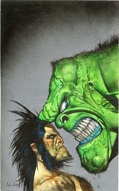 Wolverine vs. the Hulk by Simon Bisley  Such a perfect battle, two angry mutants.