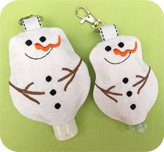In The Hoop :: Snowman Hand Sanitizer Holders Set - Embroidery Garden In the Hoop Machine Embroidery Designs