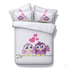>> Click to Buy << Bed Linen Owl Bedding Sets With Love Heart HD Digital Printing Cotton Bed Sheets Solid color For Lover #Affiliate