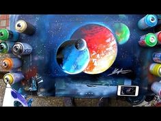 HOW to make planet UNDER planet and OVER planet 3D - SPRAY PAINT TUTORIAL by Skech - YouTube Spray Painting Glass, Spray Paint Artwork, Spray Paint Vases, Best Spray Paint, Copper Spray Paint, Painting Shower, Bottle Painting, Acrylic Art, Graffiti Art