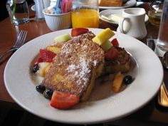 French toast with fruits from Cafe Campagne. This place is located at Pike place market a little small but you would amazed how the service and food they are great.