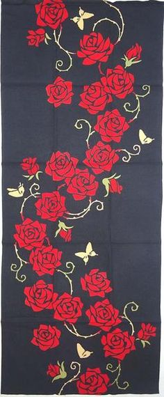 Kenema - BaraBeni (Rose) (The dyed Tenugui) – Magnificent Items from Japan (Team Wakon Japan) Drawing Stencils, Stencil Painting, Fabric Painting, Rose Embroidery, Silk Ribbon Embroidery, Embroidery Designs, Fabric Paint Designs, Fabric Design, Hand Painted Dress