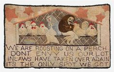 This early hooked rug depicts a man and wife in a chicken coop with chickens and… Vintage Hooks, Hand Hooked Rugs, Penny Rugs, Art Auction, Rug Hooking, Fabric Art, Traditional Art, Folk Art, Punch Needle