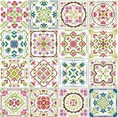 """Quilt Squares Spring 16 squares Each square is: Design Area: 5, 06""""W x 5, 06""""H 75 x 75 stitches Cross Stitch – Linear Point ..."""