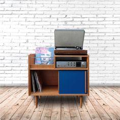 audio room Un meuble hifi sur-mesure Atelier Madame sur For Me Lab Stereo Cabinet, Record Cabinet, Record Shelf, Vinyl Record Storage, Hifi Rack, Hifi Stand, Diy Furniture, Furniture Design, Cd Storage