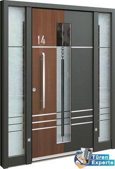 Haustüre AGE 1404 mit Seitenteil und Holzdekor