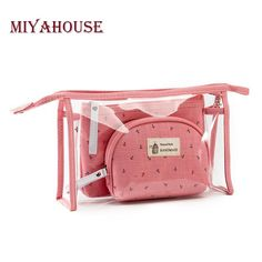 Miyahouse Fashion Brand Cosmetic Bags Waterproof Neceser Portable Make Up Bag Women PVC Pouch Travel Toiletry Bag Blosa Travel Toiletries, Travel Cosmetic Bags, Travel Bags, Set Fashion, Fashion Brand, Style Fashion, Clear Bags, Makeup Pouch, Pencil Pouch