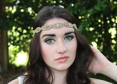 Boho headband, hippie headband, tribal headband. Black comfort fit band with bronze and gold teardeop shape seed beads with circles of rhine by TeddyBandz94 on Etsy https://www.etsy.com/listing/225893419/boho-headband-hippie-headband-tribal