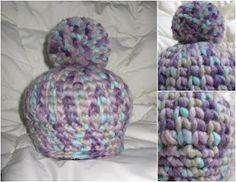 big pom pom hat - crochet