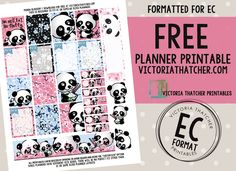 Free Printable Panda Blossom Planner Stickers from Victoria Thatcher