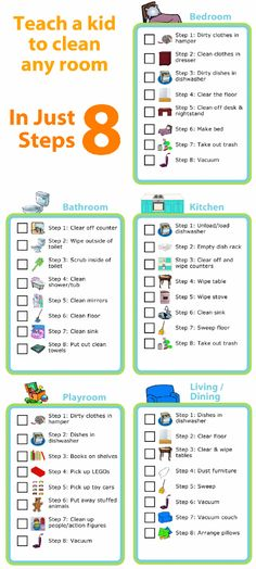 Kids love checking things off lists - make a morning checklist, a grocery list, an after school chore chart, a packing list, you name it! House Cleaning Tips, Cleaning Hacks, Cleaning Room, Room Cleaning Checklist, Chore Checklist, Cleaning Lists, Kids Checklist, Chore Chart Kids, Reward Chart Kids