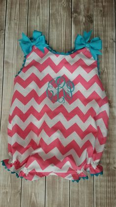 Chevron Baby Girl infant gown with ribbons by BabyDoodleBoutique