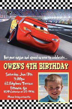 Cute invite - u print at photo place Cars Birthday Parties, 4th Birthday, Cars Invitation, Invitation Ideas, Invites, Photo Birthday Invitations, Kids Zone, Lightning Mcqueen, Disney Cars