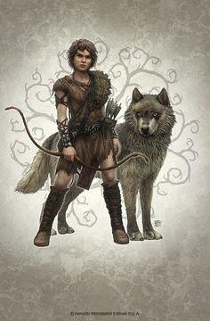 m Halfling Ranger Leather Longbow Sword Wolf ArtStation - Wolf Brother, Kerem Beyit Fantasy Warrior, Fantasy Rpg, Elves Fantasy, Fantasy Heroes, Fantasy Women, Dark Fantasy, Dungeons And Dragons Characters, Dnd Characters, Fantasy Characters