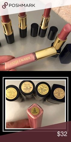 "4 Estēe Lauder Pure Color Lipsticks and Gloss Same family matching Long Lasting Lipsticks and Pure Color Gloss in matching ""23 Star Pink Shimmer""✨💕 117 Rose Tea💋182 Pinkberry💋67 Mystic Mauve💋189 Pure Eden👈🏼 Discontinued RARE!! Gently or never used! Lots of life left! Bundle with other items for a deal!!💕 Estee Lauder Makeup"