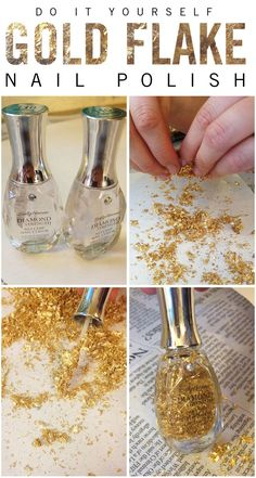 "pinner said: ""I've been noticing that gold flake nail polish is really popular this season, so I went to go buy some...ummm...$30?!?!...nevermind. My friend Lauren and I made this DIY version and it works great! I bought a package of gold flakes at a craft store, and some cheap bottles of clear nail polish, bringing the project total to right around $10 (for two bottles)."""