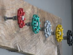 Your place to buy and sell all things handmade Rustic Coat Hanger with 5 Multi Colored Water Spigots Wall Organizer Best Woodworking Tools, Woodworking Projects That Sell, Woodworking Workbench, Diy Wood Projects, Workbench Plans, Desk Plans, Woodworking Classes, Shoe Rack Plans, Urban Rustic