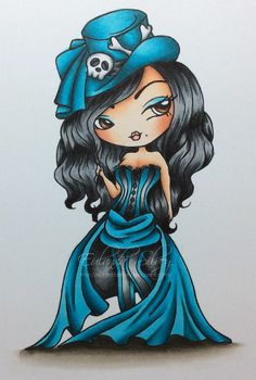 Copics: Dress -  C05, BG01, 02, 05, 07, 09 Hair - N3, 5, 7, 9 Ground - W00, 1, 3, 5, 7, 9 Skin - E000, 00, 11, 21, E04, R20 Cards and More Cards: The Stamping Chef