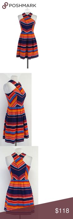 """Shoshanna- Multi-Color Striped Sleeveless Dress Sz 2 Multi-color striped dress, boned bodice gives you some structure. Pleated waist contrasts the fun stripe pattern, pair it with sandals for the perfect outfit! Size 2 Body 45% Silk 55% Cotton Lining 100% Acetate Concealed side zip Side pockets Boned bodice Shoulder to Hem 34.25"""" Youthful and bold, Shoshanna offers colorful and playful styles and fabrics. You'll be the fun date all the guys wish were on their arm. You will find a lot of…"""