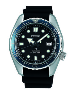 Seiko Prospex SPB079J1 in stainless steel with silicone strap - 44 m, water resistant to 200 m, and features the 6R15 caliber.  For the full story, visit us at WatchTime.com.  #seiko #divewatch #seikowatches #watchtime #Baselworld2018