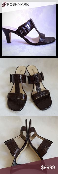 """*Disc Ship* NWT Anne Klein Brown Leather Sandal New - AK Anne Klein brown leather """"croc"""" t-strap sandal with 3"""" stacked heels. Style is """"Belden"""". Size 7 1/2.  New. Small chip in bottom of right heel (see pic 7). Not noticible when standing (pic 6). Smoke free and pet free home. Anne Klein Shoes"""