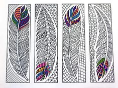 Feather Bookmarks – PDF Zentangle Coloring Page – Scribble & Stitch Colouring Pages, Printable Coloring Pages, Coloring Sheets, Coloring Books, Sketch Note, Heart Bookmark, Feather Design, Zentangle Patterns, Art Plastique