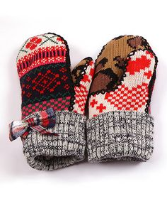 This Red Plaid Bow Mittens - Kids by MUK LUKS is perfect! #zulilyfinds