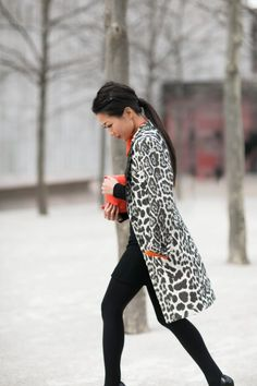 Street style fashion / karen cox. animal print coats are great in winter!