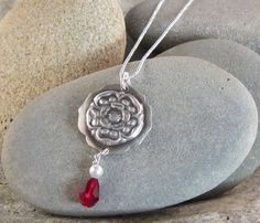 55.00 Tudor Rose, Grey Roses, Ball Chain, Swarovski Crystals, Silver Jewelry, Pendant Necklace, Pearls, Sterling Silver, Silver Jewellery