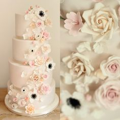 Delicate Cascading Floral Wedding Cake