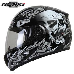 Mens Motorcycle Helmets Skull Printing Full Face Riding Helmet Clear Lens Shield Helmet Capacete De Moto