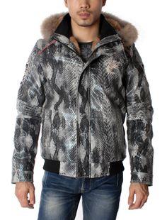 Anaconda Design Hooded Snorkel Faux Fur Jacket