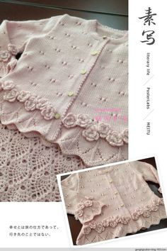 Lace Baby Jacket (Both Knit And Crochet) From Chinese Magazine Found In Russian Site - A Grouped Images Picture - Pin Them All - DIY & Crafts Knitting For Kids, Baby Knitting Patterns, Crochet For Kids, Baby Patterns, Crochet Baby, Knit Crochet, Baby Cardigan, Baby Pullover, Baby Girl Sweaters