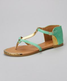 099194b0289b Green   Gold Kama Sandal by Jeru Cute Shoes Boots