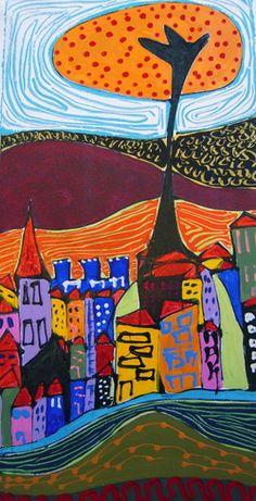 By artist Helvi Smith House Illustration, Illustrations, Art Houses, Built Environment, Outsider Art, Mosaic Art, Art Journals, Beautiful Paintings, Art Education