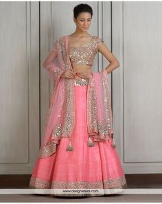 Pink silver colour combination - pink lehenga with Sequins blouse and Mirror on Raw Silk
